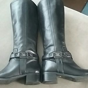 Etienne Aigner  black leather boots straps heels